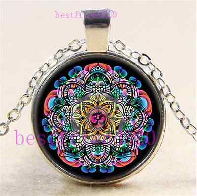Om Mandala Photo Cabochon Glass Tibet Silver Chain Pendant Necklace