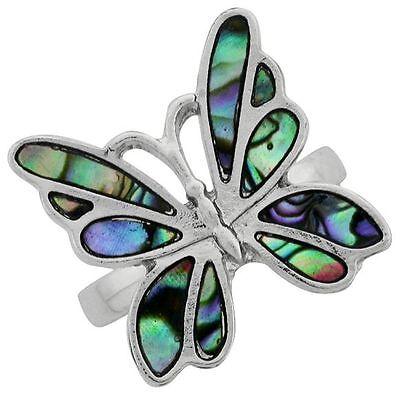 Butterfly Paua Shell - PAUA Shell abalone Nature's Butterfly Ring Wheeler Mfg. Silver Tone 9106pa