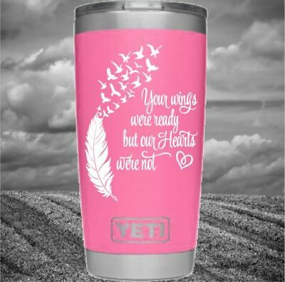 Remembrance Decal Monogram Vinyl Wings Feather for Your Tumbler Cups In Memory](Monogrammed Cups)