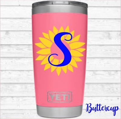 Sunflower Monogram Vinyl Decal Personalized Initial for Your Tumbler Cups Mugs](Monogrammed Cups)