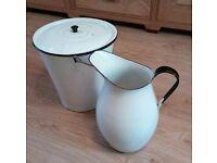 Jug + Bucket enameled white historic