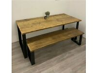 BRAND NEW: Rustic Box Leg Dining Table