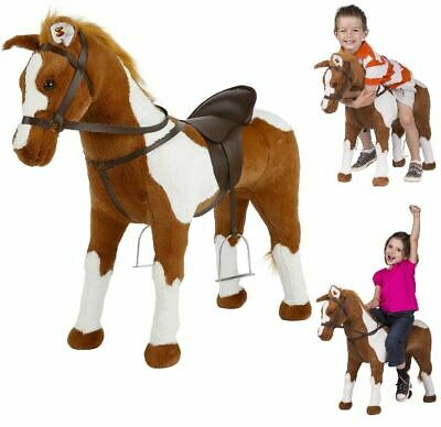 Kids Large Ride On Rocking Horse Toy Stable Plush for Toddlers Children Coffee