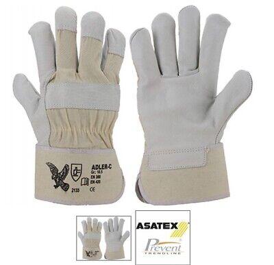 6 Paar Premium Rindvollleder-Handschuhe Arbeitshandschuhe Handschutz Adler - Adler Handschuhe