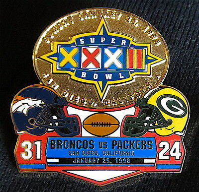 Super Bowl 32   Denver Broncos   Packers Final Score Lapel Pin   Willabee   Ward