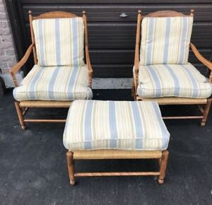 French farmhouse club house chairs with large ottoman
