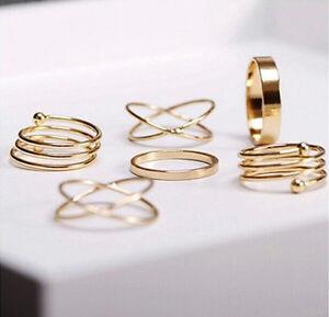 Celebrity 6Pcs/Set Midi Above Knuckle Ring Band Gold Plated Tip Finger Stacking