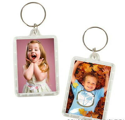 Clear Keychain (24 PHOTO FRAME KEYCHAINS KEY CHAIN CLEAR TRANSPARENT INSERT PICTURES-FAST)