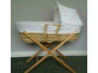 Clair De Lune white moses basket & stand