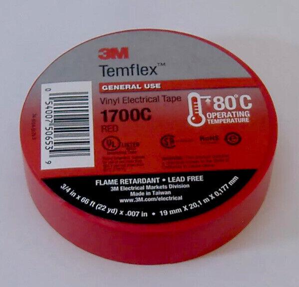 "PREMIUM GRADE 3M TEMFLEX RED VINYL ELECTRICAL TAPE 3/4"" X 66"