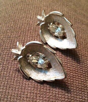 Vintage Sarah Coventry Crystal Navette Rhinestone Clip On Earrings Signed