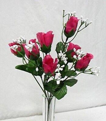 (84 Roses FUCHSIA HOT PINK Wedding Bouquet Silk Rose Flowers Centerpiece NO DEW)