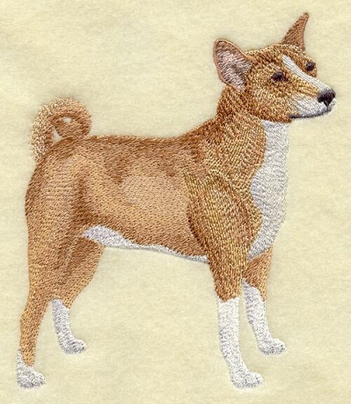 Large Embroidered Zippered Tote - Basenji C9658