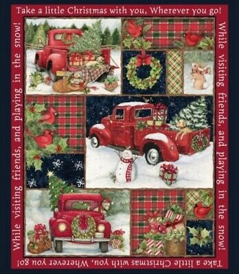 Springs Christmas - 66689 Red Truck Collage Panel  Cotton Fabric BTY](Christmas Fabric)