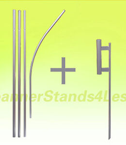 Feather Flutter Flag swooper 15ft POLE KIT and Ground Stake SPIKE Mount