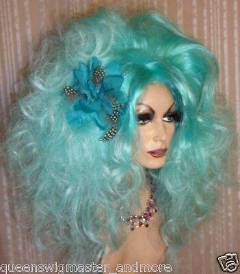 Drag Queen Wig Big Teased Extra Big Ice Berg Teal Blue Ltight Tips Long Curls - Teal Wig