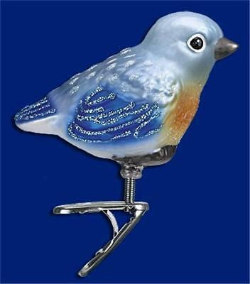 BABY BLUEBIRD OLD WORLD CHRISTMAS GLASS CLIP ON BIRD NATURE ORNAMENT NWT 18093