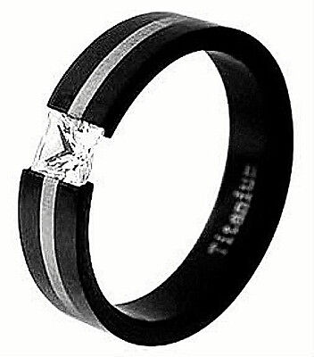 TITANIUM TENSION Black Plated RING with 5mm Square CZ & Silver Accent, size 6 Black Titanium Tension Rings