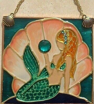 Mermaid Stain Glass Art Window Hanging Suncatcher Wall Art Decor Ornament Panel ()