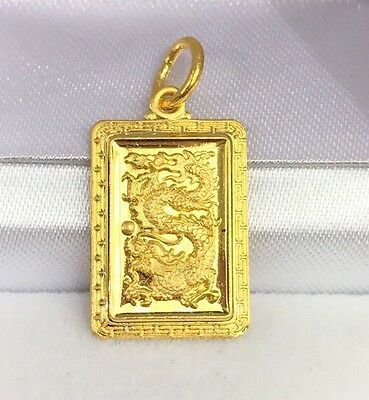 24k goldebay 1 24k solid yellow gold cute animal sign dragon rectangle charm pendant 250grams mozeypictures Gallery
