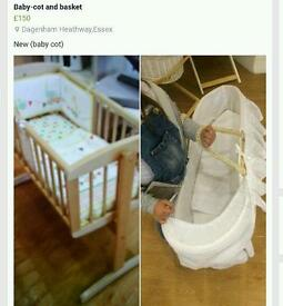 New-Baby cot and basket