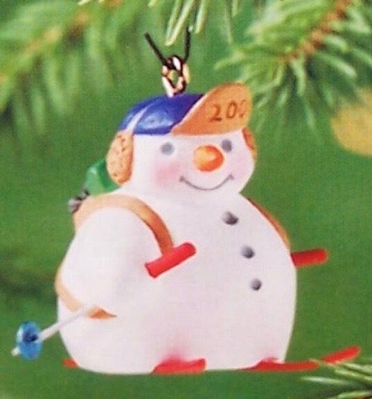 Hallmark 2001 Holiday Flurries #3 NIB Snowman Skiing Skier Miniature Ornament