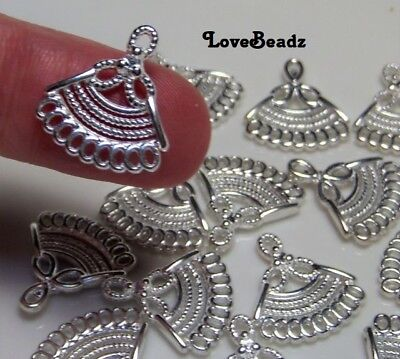 16 Tiny Earring Components-Shiny Silver Metal Connectors-17x15mm-DIY Jewelry