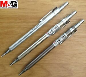 M-G-FULL-METAL-JACKET-MECHANICAL-PENCIL-0-5-0-7-mm-GOLD-SILVER-CUPROUS-BARREL