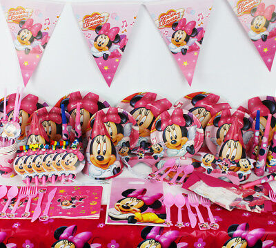 Minnie Mouse Party Supplies Set Birthday Plates Napkins Cups Tablecover Balloon