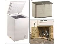 Wanted small chest freezer and bike shed