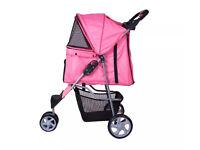 Pet Dog/Cat travel 3 wheel stroller pushchair (pink)