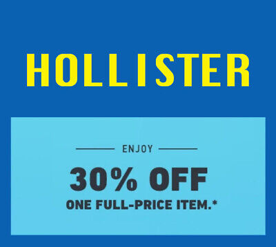 (2) Two Coupon HOLLISTER 30% off 1 item Code Promo Ex 7/31/20 OnIine/In Store