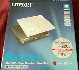 LiteOn EBAU108 white external USB DVD/CD writer