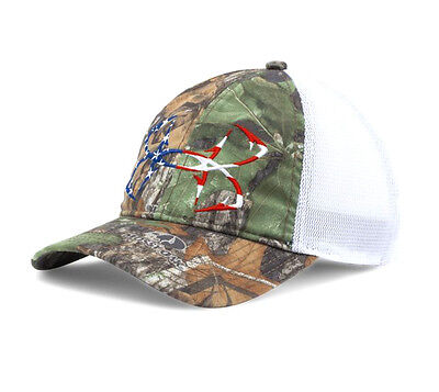 Under Armour UA Fish Hook USA Flag Logo Mossy Oak Obsession
