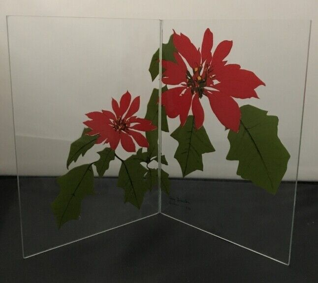 GLASSFOLD Prints-On-Glass card Christmas poinsettias MIB