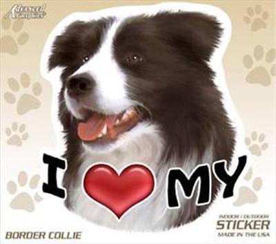 "I Love My Border Collie Dog 4"" Car Truck Home Vinyl Sticker Decal Pet Gift USA"