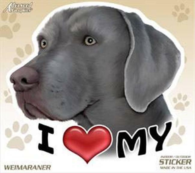 "I Love My Weimaraner Dog 4"" Car Truck Home Vinyl Sticker Decal Pet Gift USA"