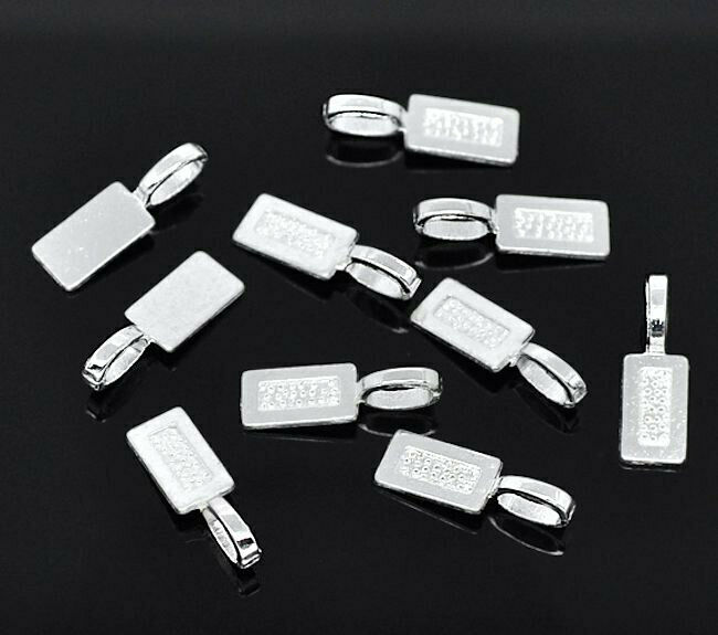 12 Glue On Bails Antique Silver Plated - FD028