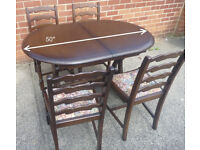 Small Extendable Oak Dining Table with 4 Chairs