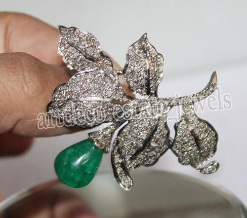 3.22ct ROSE CUT DIAMOND EMERALD ANTIQUE VICTORIAN LOOK 925 SILVER PENDANT BROOCH