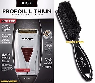 Andis Profoil Lithium Titanium Foil Shaver #17150 + Professional Cleaning Brush