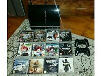 PS3 (Old style) Playstation 3 and 12 Games, 2 controllers