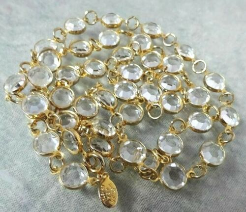 """Dainty Vintage 30"""" Necklace with Bezel Set 8mm CLEAR Austrian Crystals"""