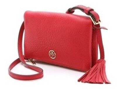 TORY BURCH ROBINSON PEBBLED MINI FOLD-OVER CROSS-BODY KIR ROYALE $225 32159148