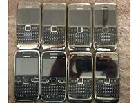 Job lot of 9 Nokia E71 and E72
