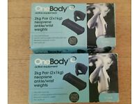 2 sets of 2 x 1kg ankle/wrist weights