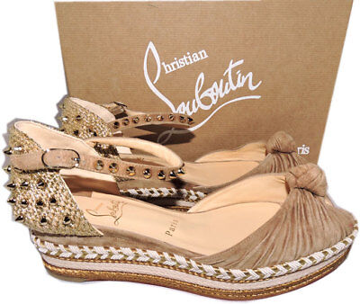 Christian Louboutin Red Sole Madcarina 60 Spiked Wedge Ankle Strap Sandals 39