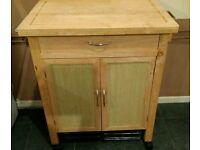 Wooden butchers block kitchen storage unit