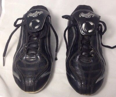 132e50f13 Rawlings Soccer Cleats size 3 Youth boys girls Black GUC (bin D)