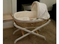 Mothercare Unisex Cream Moses Basket, White Beech Wooden Stand & Accessories